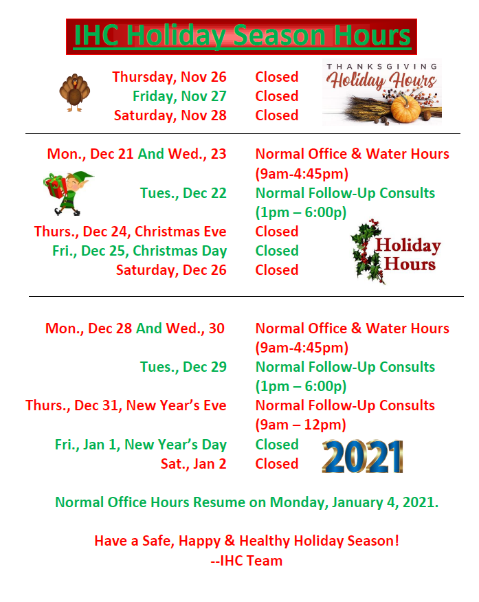 Holiday Hours 2020-2021