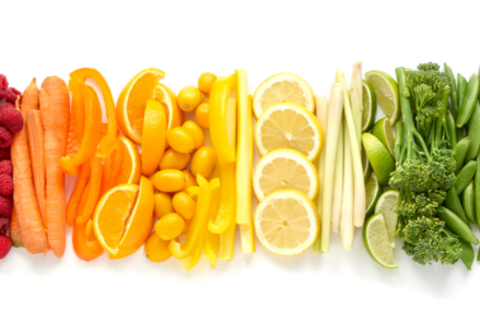 RAINBOW BANNER OF FRUITS AND VEGGIES